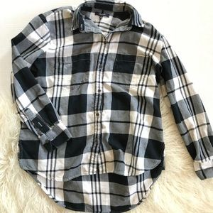 Madewell Black & White Plaid Button Down Shirt XS